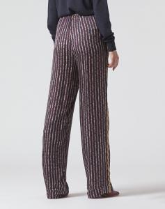 MANILA GRACE P036VI Pantaloni tessuto fluido fantasia micro geometrica
