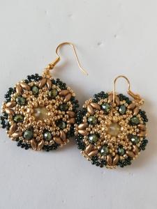 Gold green earrings | online sale costume jewellery