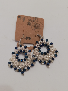 Orecchini artigianali blu metallico | vendita on-line