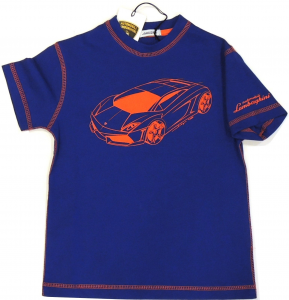 Lamborghini Boys Short Sleeve Gallardo T-shirt Royal Blue - Orange