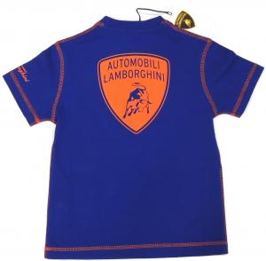 Lamborghini Boys Short Sleeve Gallardo T-shirt Royal Blue - Orange