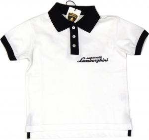 Lamborghini Boys Bi-Colour Gallardo Sketch Polo Withe Black