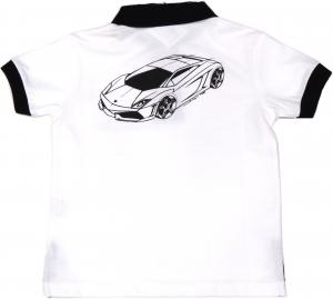 Lamborghini Boys Bi-Colour Gallardo Sketch Polo Withe Black