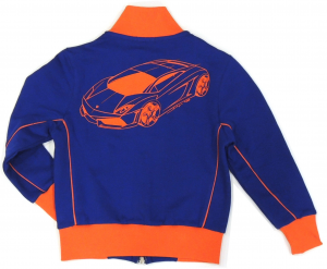 Lamborghini Boys Fleeced Gallardo Zip UP Sweatshirt Royal Blue-Orange