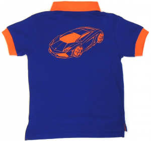 Lamborghini Boys Short Sleeve Gallardo Piquet Polo Royal Blue- Orange