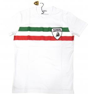Lamborghini Men Tricolore SS T-shirt White