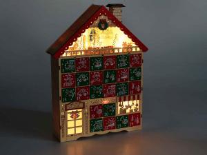 Calendario dell'Avvento a casetta intagliata a laser con luci