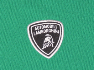Lamborghini Men Basic Shield Short Sleeve Soft Piquet Electric Green