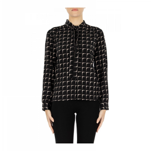 CAMICIA M/L IN CREPE DE CHINE STAMPA OPTICAL