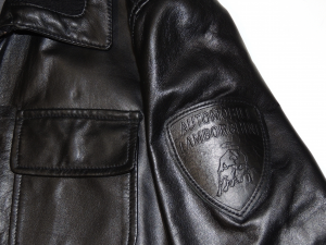 Lamborghini Vintage Zip Up Leather Bomber Black