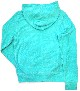 Lamborghini Ladies Terrycloth Hooded Zip Up Lightweight Aqua
