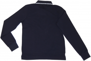 Lamborghini Men Basic Shield Long Sleeve Soft Piquet Navy Blu / White