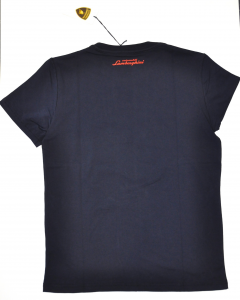 Lamborghini Men Taped Shield Short Sleeve T-shirt Navy/Orange