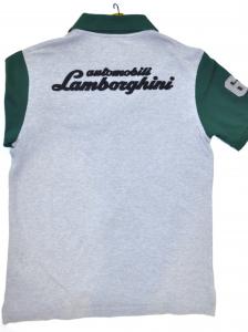 Lamborghini Men Short Contrast Sleeve Piquet Polo Grey/Green
