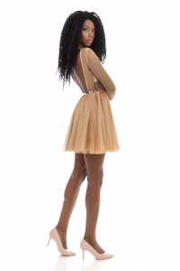 FELEPPA Francesca, mini dress in tulle con scollatura sulla schiena