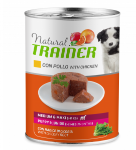 Trainer Natural - Medium\Maxi - Puppy&Junior - Pollo - 400g x 24 lattine