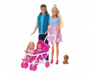 Steffi Love Welcome Family (Steffi incinta, Kevin, Evi) con 9 accessori Simba