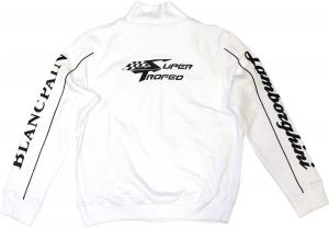 Lamborghini Men Zip Up Sweatshirt White/ Black