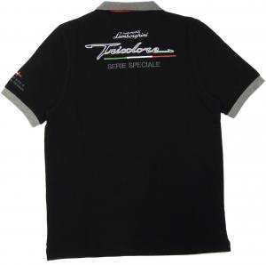 Lamborghini Men Freccia Tricolore Piquet Polo Black
