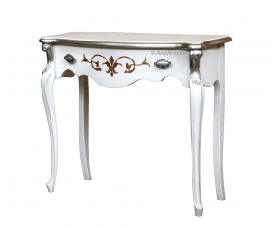 Decorated console table gold and silver leaf