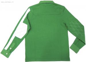 Men's Ls Contrast Stripe Jersey Polo Jelly Green