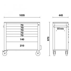 Cassettiera mobile con 7 cassetti, antiribaltamento, C24SA-XL/7