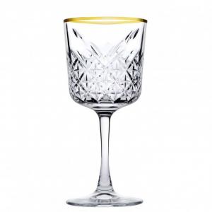 Set 4 calici timeless golden touch in vetro trasparente bordo oro cl 33 cm.19,5h diam.9