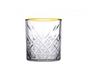 Set 4 bicchieri Timeless in vetro trasparente bordo oro cl 34,5 cm.9,5h diam.8,5