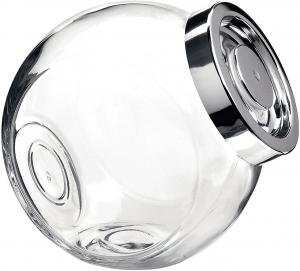 Barattolo contenitore in vetro Pandora con tappo cromato cm.17x12x18h