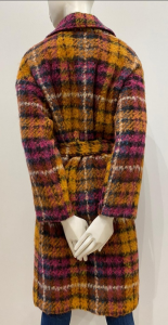 SADEY withlove Cappotto Orsola over con cintura in madras giallo/viola misto con alpaca e viscosa