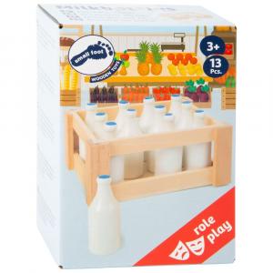 Set 12 pezzi bottiglie di latte in legno gioco cucina-mercato per bambini