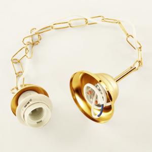 Montatura sospensione lampada E27 oro lucido corona con catena e cavo elettrico bianco