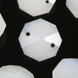 Ottagono 14 mm bianco seta vetro cristallo molato 16 facce 2 fori.