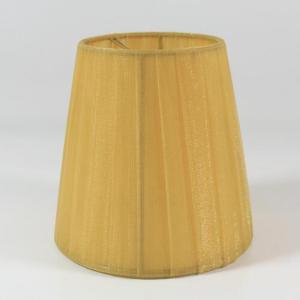 Paralume  Ø12 Ø8 h11 cm tronco conico rivestito da velo siena ambra. Montatura oro a molla.