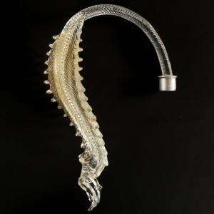 Ricambio foglia bassa Murano Ø9 cm vetro cristallo trasparente e oro MG