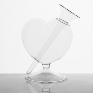 Vaso a forma di cuore 20 cm con boccetta per fiori in cristallo trasparente. Vaso decorativo, centrotavola, vaso per fiori