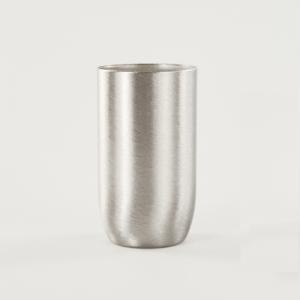 Bicchierino metallico nickel spazzolato E14  Ø30 mm foro 10 mm.