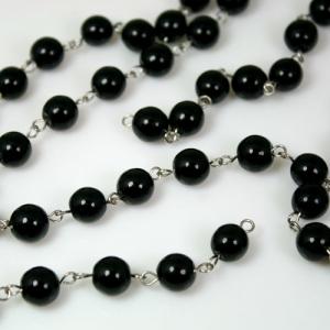 Catena 100 cm perle Ø10 mm, tondino liscio colore nero, spillo a occhiello nickel