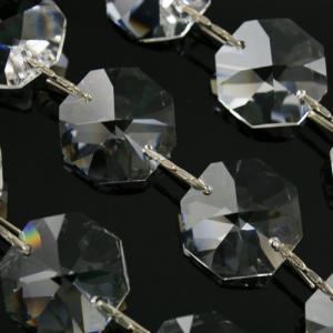 Catena ottagoni 20 mm cristalli Asfour lunga 50 cm, clip nickel.