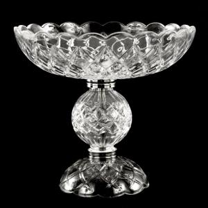 Centrotavola Ø25 x H25 portafiori candelabro in vetro cristallo veneziano con finiture cromo.