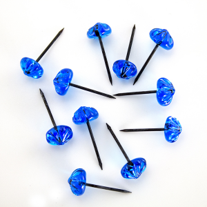 Chiodo con testa in vetro di Murano cristallo blu fatta a mano