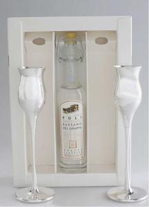 Set da 2 Bicchieri da Grappa in metallo rivestito di argento con bottiglia grappa cm.18,5h diam.4