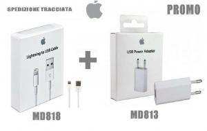 CARICATORE ORIGINALE + Cavo APPLE ORIGINALE per iPhone 6 5 S 7 MD818+813 SCATOLA