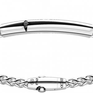 Zancan, bracciale in argento con croce e spinello nero
