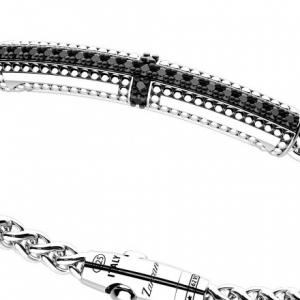 Zancan, Bracciale in argento con incrocio di sfere e pietre nere