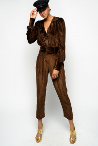 SHOPPING ON LINE PINKO BLUSA FLUIDA IN VELLUTO A COSTE CON ROUCHES ASTROMETRIA NEW COLLECTION WOMEN'S FALL WINTER 2020/2021