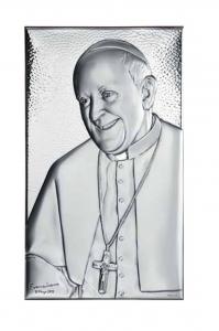 Quadro Sacro con Papa Francesco in argento
