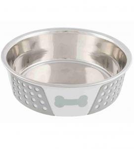 Trixie - Ciotola Acciaio Inox - Rivestimento Plastica e Silicone - 0.75 L