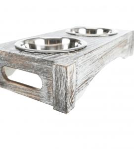 Trixie - Set Ciotole Legno/Acciaio Inox  - 2 x 0.45 L