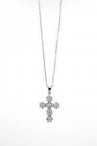 Croce Star in Oro Bianco e Diamanti